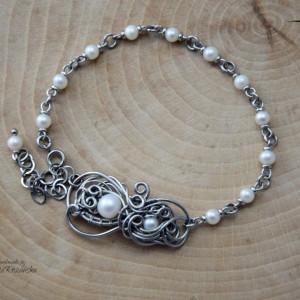 Bransoletka z perłami wire wrapping