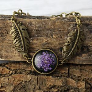 Bransoletka z prawdziwym fioletowym kwiatem