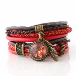Bransoletka z rzemieni Red Autumn