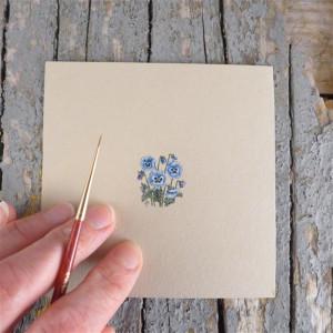 Bratki, niebieskie kwiatki ,Botanical illustration