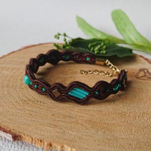 Brązowa bransoletka z turkusowymi dodatkami