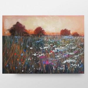 Brązowa łąka  -praca wykonana pastelami