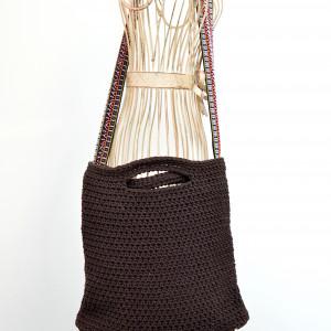 Brązowa torba folk, bardzo pojemna