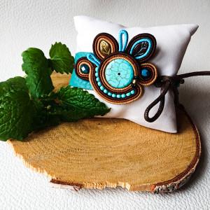 Brązowo-turkusowa wiązana bransoletka na skórze