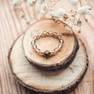Brązowo-złoty pierścionek