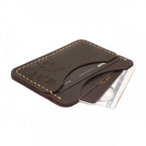 Brązowy portfel na karty z prawdziwej skóry