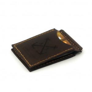 Brązowy portfel z klipsem na banknoty