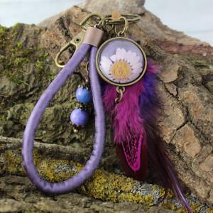Brelok do kluczy lub torebki boho fioletowy