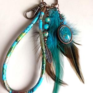Brelok do kluczy lub torebki boho niebieski