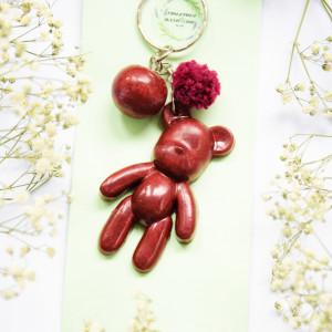 Brelok Miś - burgundowa perła