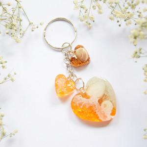 Brelok Morskie Serce - pomarańcz