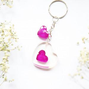 Brelok - serca dwa / fiolet