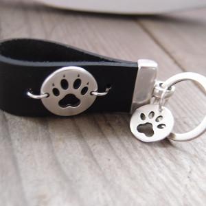 Brelok skórzany do kluczy - cat