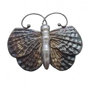 Broszka  motyl perła i srebro pr925