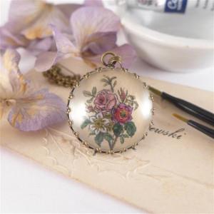 Bukiet kwiatów, miniatura, akwarela