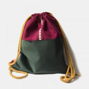 Buraczkowo-szmaragdowy plecak worek