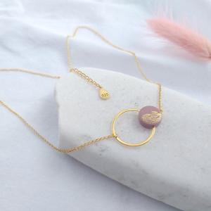 Celebrytka kółko różowe złotko