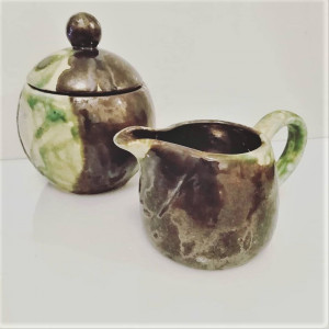 Ceramiczna cukiernica i mlecznik - retro style