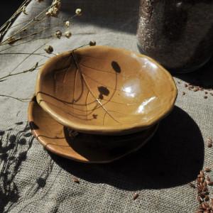Ceramiczna Miska ze spodkiem czarka miodowa