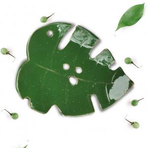 Ceramiczna Mydelniczka z dziurkami  Liść Zielona