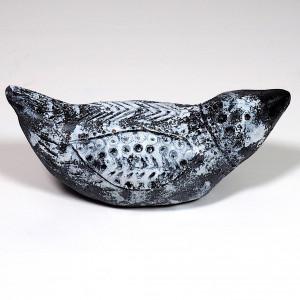 Ceramiczny ptaszek czarno-biały