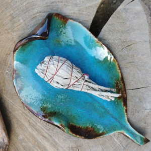 Ceramiczny talerz, liść (c282)