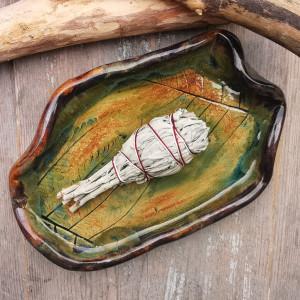 Ceramiczny talerz, paproć (c215)