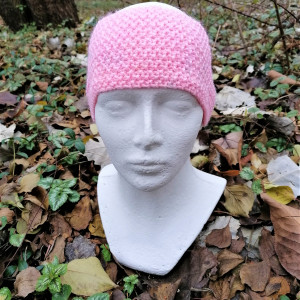 Ciepła, różowa, szeroka opaska  na głowe.