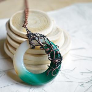 Circle - duży wisior z okrągłym agatem