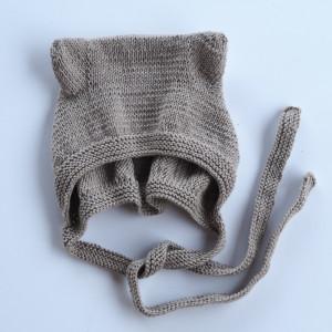 czapka bonetka z uszkami bawełna/merino brąz