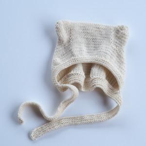 czapka bonetka z uszkami bawełna/merino ecru