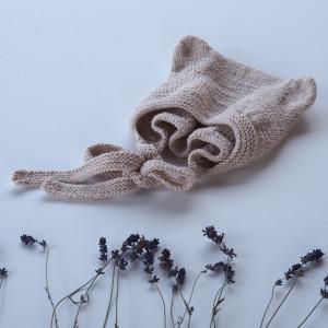 czapka bonetka z uszkami bawełna/merino pudrowy