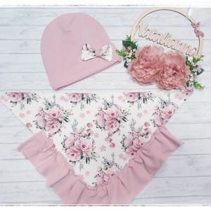 Czapka + chusta kwiaty