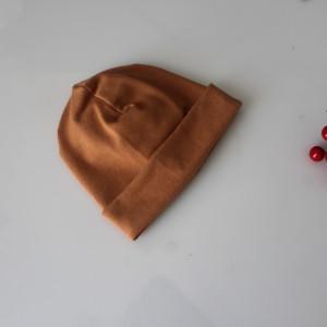 Czapka podwójna karmel gładka rozmiary