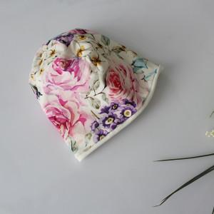 Czapka podwójna kolorowe kwiaty rozmiary