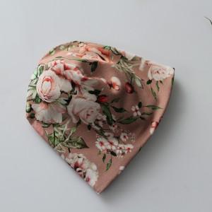 Czapka podwójna kwiaty chłodny róż rozmiary