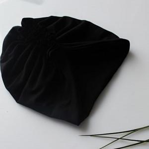 Czapka turban czarny podwójny falbanka rozmiary