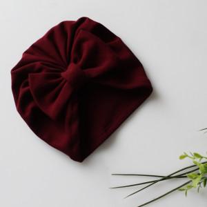 Czapka turban dresowy kokarda bordo