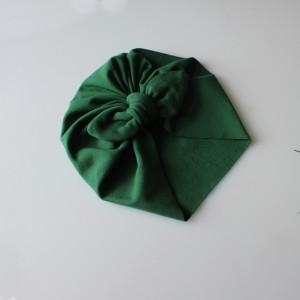Czapka turban dresowy kokardka butelkowa zieleń