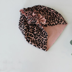 Czapka turban dresowy panterka róż