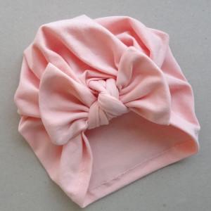czapka turban dziecięcy kokarda jasny róż
