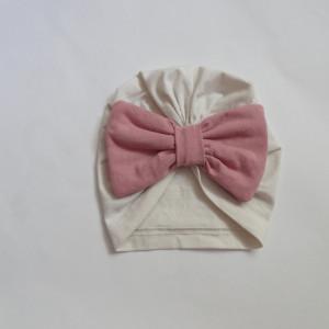 czapka turban kokarda ecru różowy bawełna