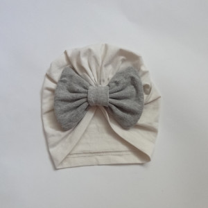 czapka turban kokarda ecru szary bawełna