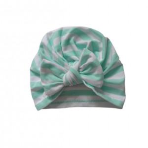 czapka turban kokarda paski biel mięta bawełna