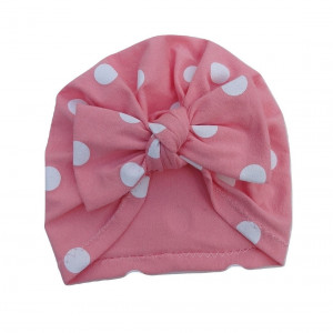 czapka turban kokarda róż grochy
