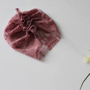 CZAPKA Turban koronka brudny róż ,