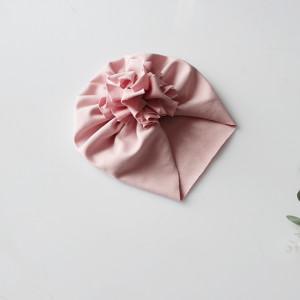 Czapka turban kwiat brudny róż dresowy