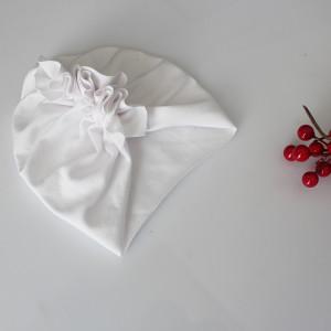 Czapka turban LEKKI  biel chrzest wybór rozmiaru