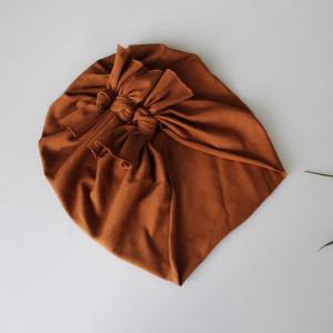 Czapka turban LEKKI kokardki karmel