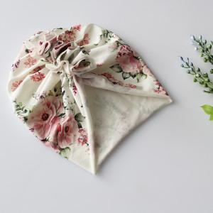 Czapka turban lekki kwiaty bukieciki